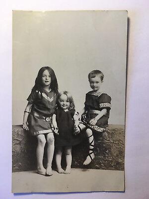 Three Children Dressed Up - Antique Photograph Postcard - Unposted