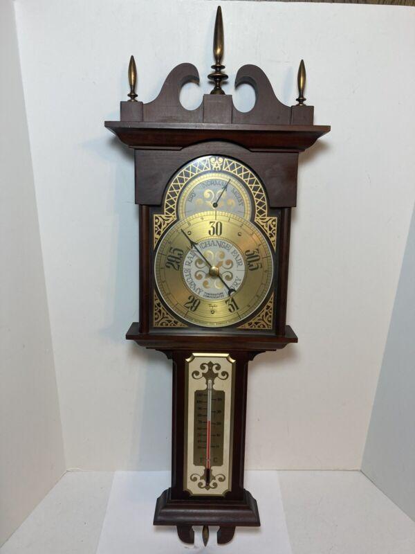 "Vintage Taylor Barometer Thermometer Wall Mount 28"" Asheville N.C."