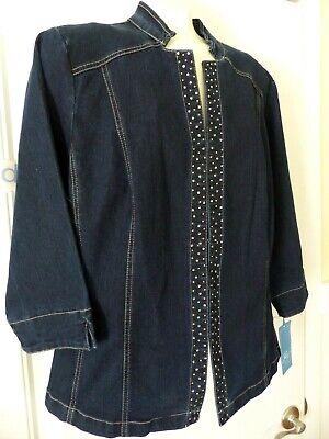 NWT Stretch Denim Embellished Blue Jean Jacket Steinmart Lara Lane Women 16W