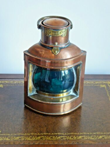 Antique Original Copper Nautical Starboard Lamp Davey & Co. London