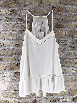 Jacqueline De Yong White Cream Ruffle Hem Vest Top Size 8 Summer Pretty