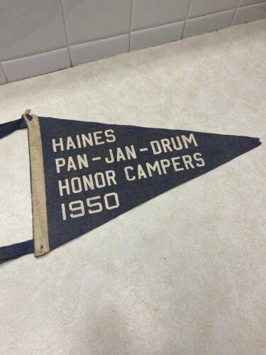 """1950 Boy Scout Pan - Jan- Drum Honor Campers Felt Pennant - 13 1/2"""""""