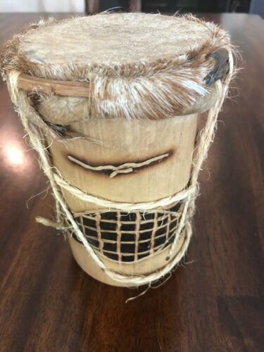 "Bamboo Hand Carved Primitive Drum Turtles Belize It Carved 6"" x 4"""