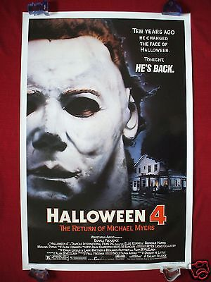 HALLOWEEN 4 * 1988 ORIGINAL MOVIE POSTER 1SH ROLLED MICHAEL MYERS MASK NM-M