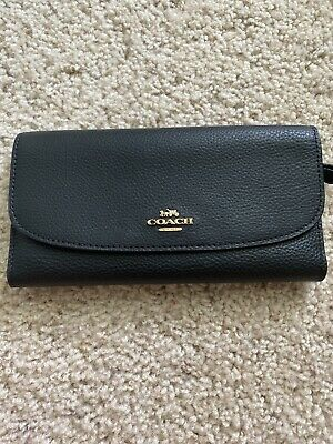 COACH Black Leather Trifold Wallet With Checkbook Cover