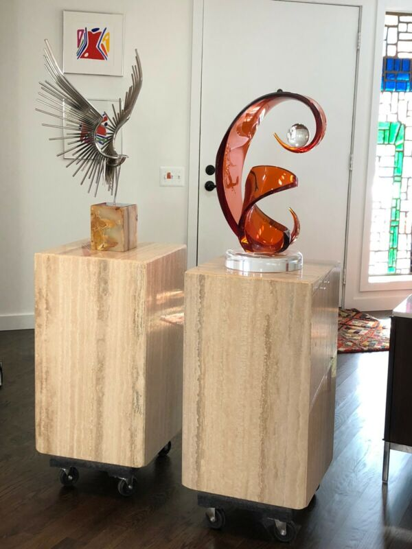 Pair Of Vintage Modern Square Travertine Marble Pedestal Sculpture Plant Stand