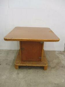 C15002 Vintage RETRO Cane Outdoor Pool BBQ Table w/ Cupboard Unley Unley Area Preview