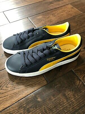 PUMA SHOES LEATHER  NAVY/YELLOW  UK 7  14.99
