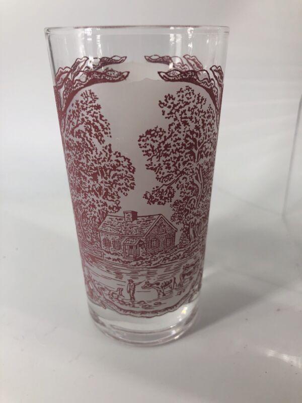 4 VTG Memory Lane Pink By Royal China  USA Vintage 12 oz Glasses
