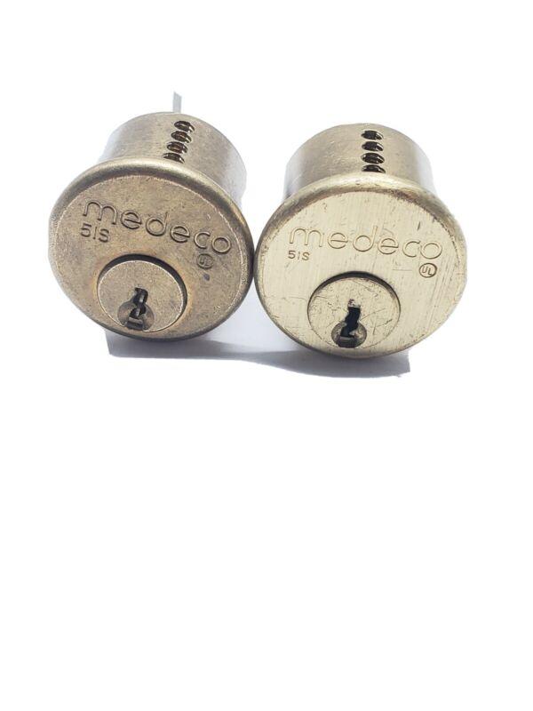 Medeco brand rim cylinders, 6 pin, commercial keyway, set of 2, locksmith