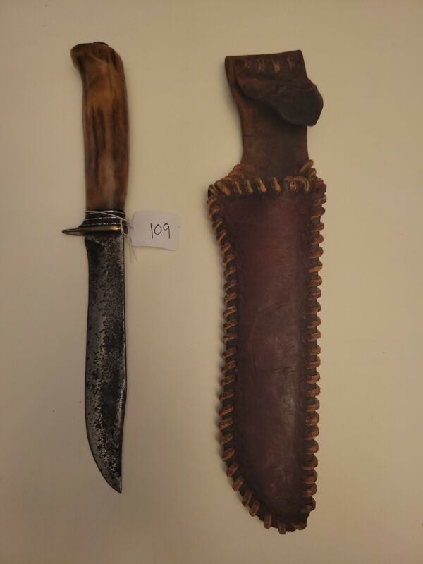 Morseth Clip Point Knife With Stag Handle And Leather Sheath