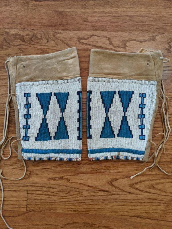 Native American Blackfoot Northern Plains Beaded Leggings Circa 1910