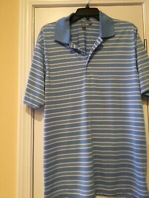 Ashworth Mens Blue Striped Short Sleeve Golf Polo Shirt LARGE NWOT