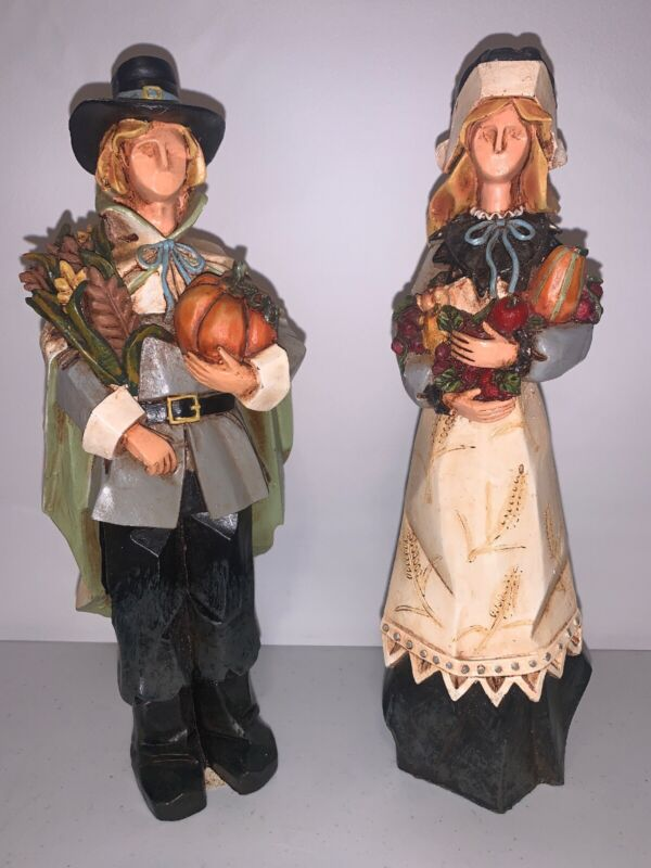 """Male and Female Pilgrims Carry There Harvest Risen Figurines 9"""" H Wood Look"""