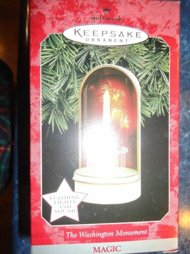 HALLMARK ORNAMENT THE WASHINGTON MONUMENT WITH LIGHTS AND SOUND DATED 1998