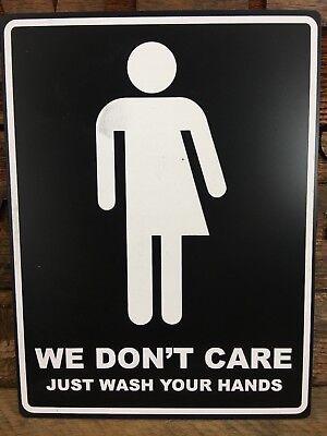 We Don't Care Bathroom Sign, BLACK/White, 6