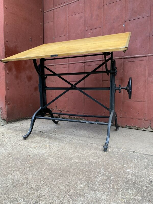 1900s Dietzgen Cast Iron Cranking Drafting Table Industrial Desk Art Office
