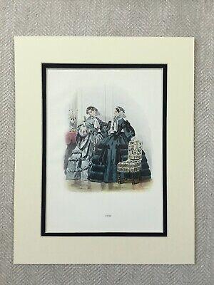 1859 Antik Aufdruck Elegant Viktorianisch Damen Mädchen 1800s Zeit Kostüm (Elegante Dame Mädchen Kostüm)