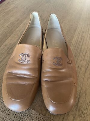 Chanel Womens Shoes Loafer Flats Tan Leather Sz 37