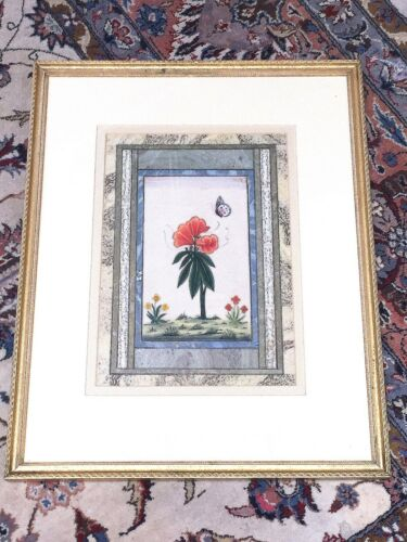 ANTIQUE PERSIAN MINIATURE PAINTING FLOWERS WITH BUTTERFLY - VERY NICE - 2 OF 2