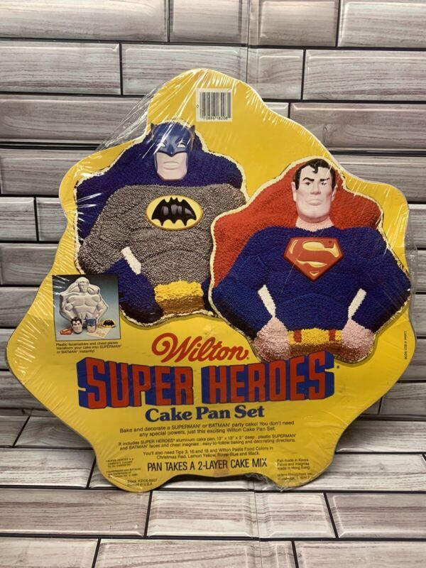 Vintage 1977 Wilton Super Hero Cake Pan Set Superman Batman NEW SEALED NOS