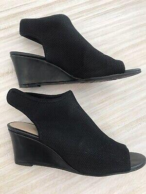 IMPO STRETCH Peep Toe Black Wedge Sz 9 Velcro Ankle Sandals Worn 1x Nurelle