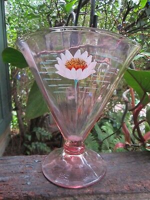 Pink Depression Glass Ribbed Fan Vase W Painted Flower 7X6 25