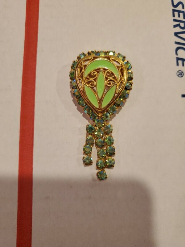 Vtg Green Gold Tone Broch