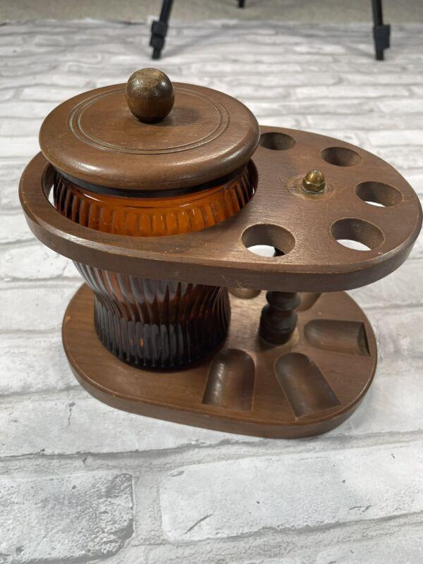 Vintage Dun-Rite Wood Nov Inc Pipe Stand & Amber Glass Tobacco Humidor Jar NICE!