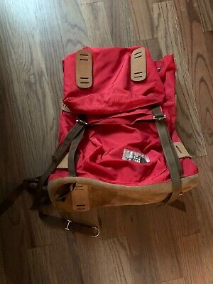 Vintage The North Face, Original Brown Label Backpack, Red, Leather, RARE