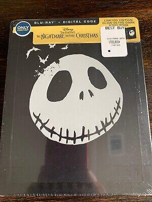 The Nightmare Before Christmas (Blu-ray, Digital) GLOW IN THE DARK STEELBOOK NEW