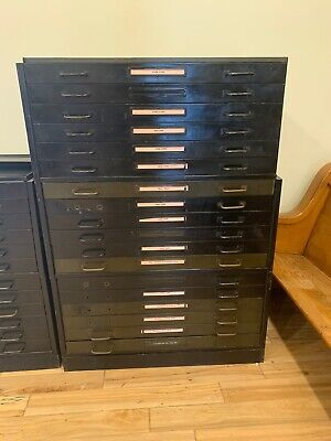 Vintage Metal Map Blueprint File Cabinet 18 Drawer