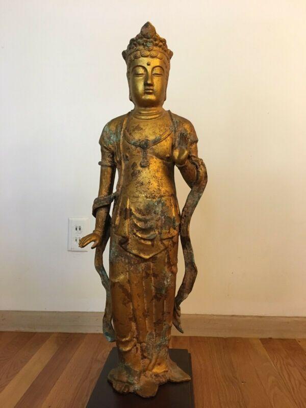 Large Asian Japanese Gilt Bronze Buddha Statue - great condition