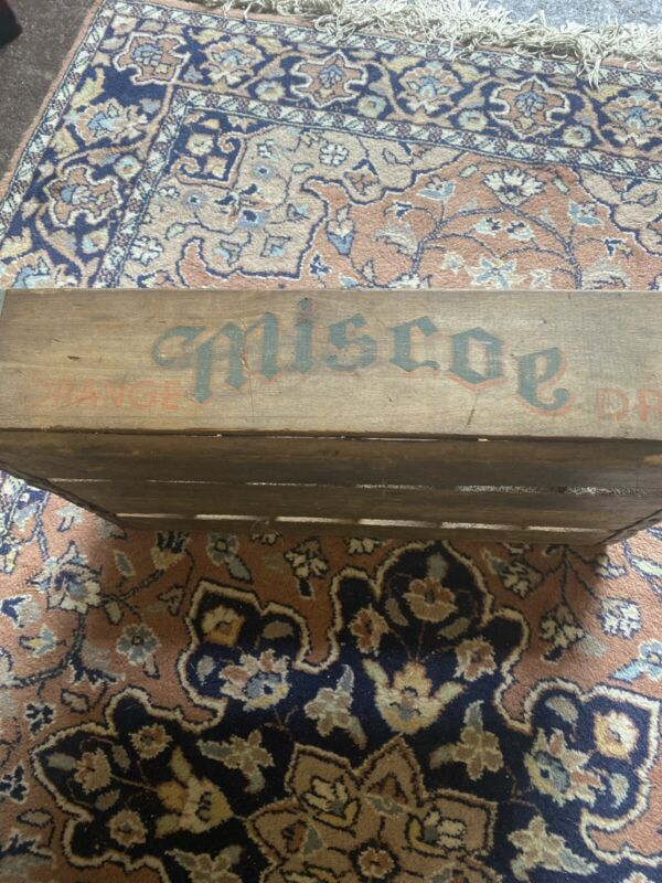 1949 Miscoe Dry Orange Drink Bottle Carrier Crate Worcester Mass