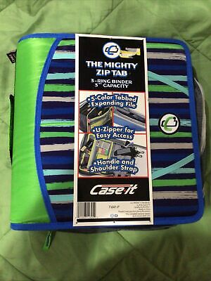 Case It Mighty Zip Tab 3 Inch Capacity Ring Zipper Binder Neon Green Blue