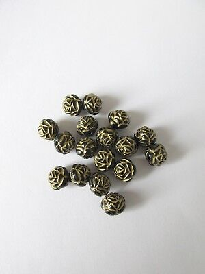 50pcs 12mm round black/gold flower acrylic beads jewellery making craft UK