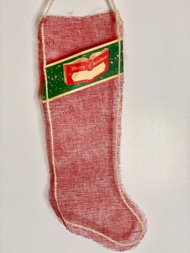 "Vintage Mesh Christmas Stocking 18""  Paper Tag Cotton Stitching"
