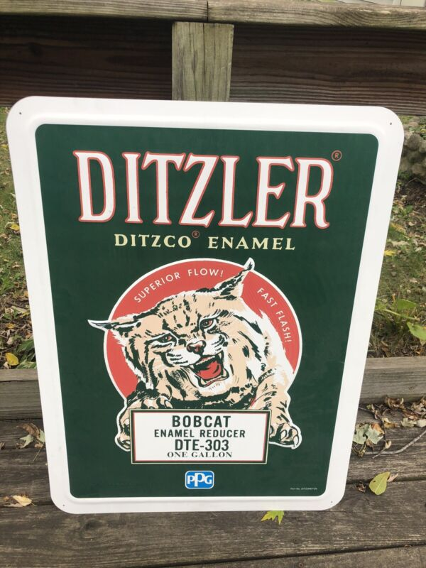 Nice Ditzler Enamel Bobcat Advertising Embossed Sign By PPG In Original Box