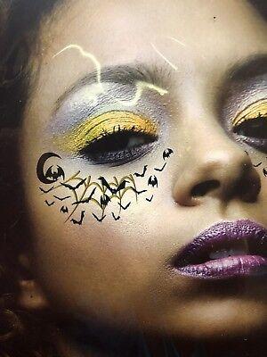 Halloween Body Art Temporary Tattoo - Face Eyes Bats Spider Webs (Face Art Halloween)