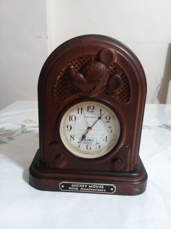 Mickey Mouse Vintage 1987 Seiko Quartz Clock Disney 60th Anniversary Tested