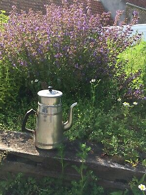 vintage French coffee pot. Nickel plated