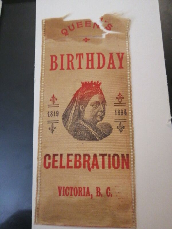 QUEEN VICTORIA 1894 75TH ANNIVERSARY VICTORIA BRITISH COLUMBIA RIBBON CANADA