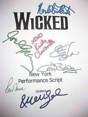 Wicked Signed Broadway Musical Script X7 Kristin Chenoweth Idina Menzel reprint