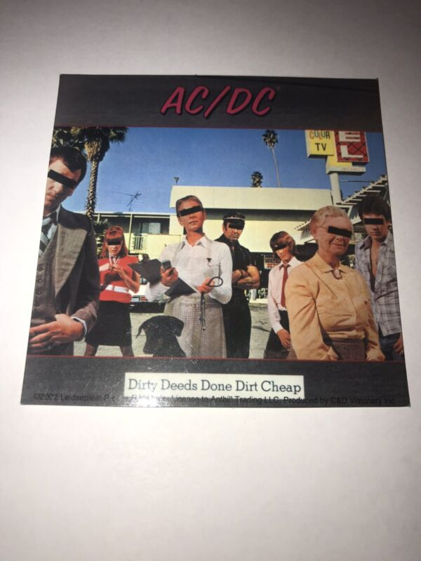 """AC/DC DIRTY DEEDS DONE DIRT CHEAP 4"""" Sticker Decal Concert ANGUS YOUNG 2002 RARE"""