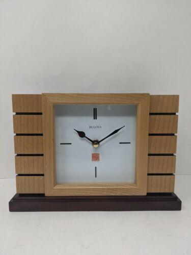 Bulova Clocks B1659 Usonian II Mantel Clock, Natural Finish w/ Walnut Stain Base