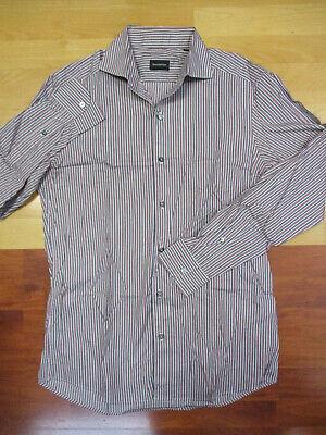 Ermenegildo Zegna Gray & Red Striped Button Front Long Sleeve Shirt - Medium