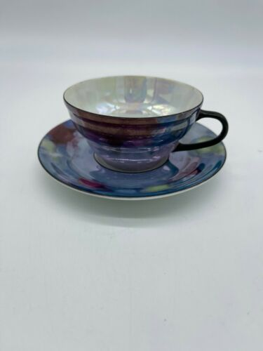 Porcelain Coffee Cup and Saucer Mother of Pearl Made in Czechoslovakia Vintage