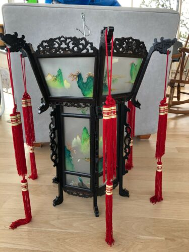 """Vintage Chinese Rosewood Palace Lantern Hand Painted Glass 23"""" H  24"""" W NOS"""