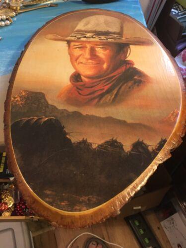 Vtg  John DUKE Wayne Decoupage on Wood Picture Conestoga Wagon Western Ozarks