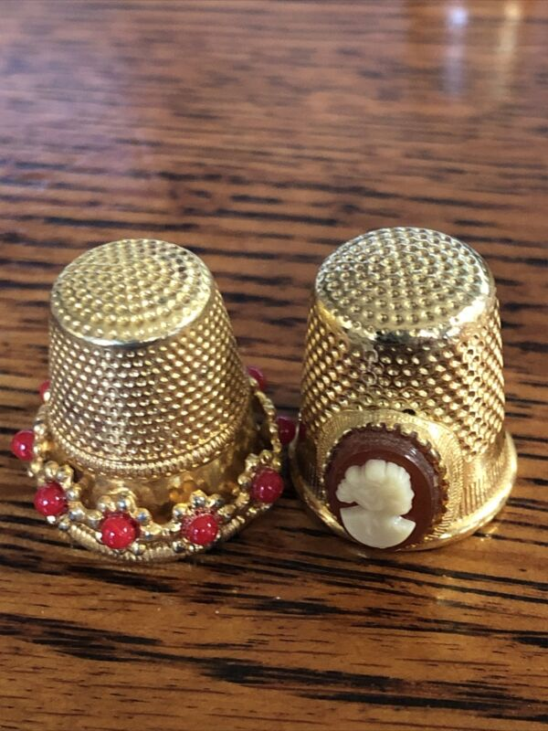 Thimbles Cameo and Orange Beads Made In Austria